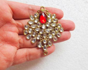 2 pcs Ethnic Metal Jewelry Connectors, Jewelry Pendants, Indian Pendants, Jewelry Supplies, Kundan Pendants