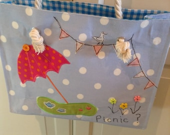 SALE ITEM !! Hand Made Picnic / Beach Bag Tote Appliquéd Fully Lined with Pockets and Free Motion Embroidery
