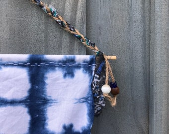 Wall Tapestry Mini Shibori Indigo Blue