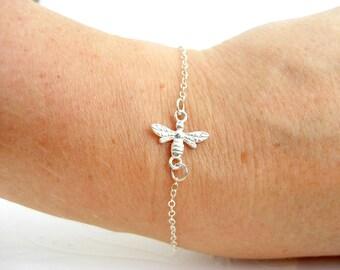 Bee bracelet very delicate bracelet, 925 silver, personalized