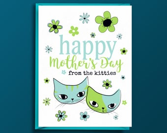 Mothers Day Card - from Cats, Happy Mothers Day, Card for Mom, Cat Lover, for Her, Wife, Mother, Sister, Fiance, Grandma, Cat Lady