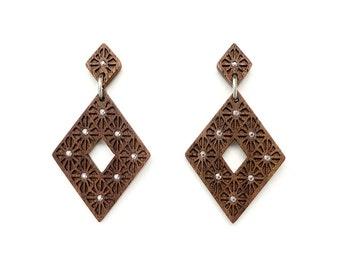 Art deco jewelry, Rhombus statement earrings Wooden earrings for women Big earrings gold drop earrings Sterling silver earrings Wood jewelry