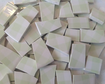 Broken China mosaic tiles~~Handcut Fine chinaTile~~MiNT GReeN GINGHAM~~Set # 1