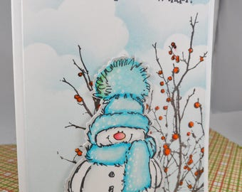 Christmas Card, Wanna Build a Snowman? -- Christmas Greeting Card -- Holiday Card -- Snowman Card