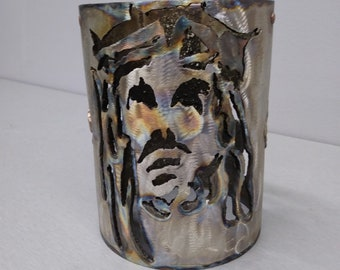 Metal Stainless Candle Cover Jesus