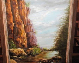"Vintage Oil on Canvas/Titled""Mighty Sentinel""/ Cliffs/Stream/Tree/ Signed A. Lyons"
