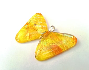 Dichroic Fused Glass Butterfly Pendant  - Butterflies Collection - Yellow, orange (P90)
