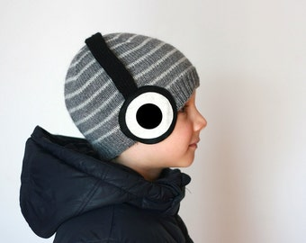 Headphones knitted hat for kids or adults with the stripes in dark grey and light grey color, in wool alpaca blend