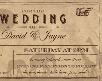 SAMPLE Old Vintage Destination Safari Animal Ticket Wedding Invitations!