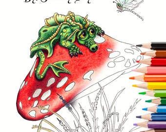 Fantasy Art Coloring Book 1 with Dragons, Mermaids & Fairies Adult Coloring Pages Kids Coloring Pages