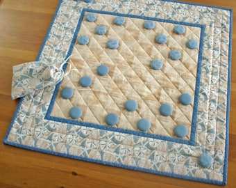 Beach House Quilted Checkers Game Table Runner | Seaside Vacation Home Decor Checkerboard Game | Sand Dollar Sea Shell Starfish Game Quilt