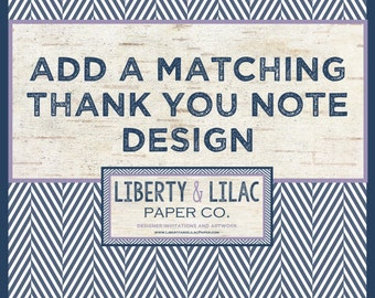 """MATCHING THANK YOU Note - Add a Matching Thank You Note to Any Invitation - 4x6"""""""