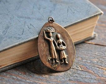 vintage large metal pendant, bohemian bronze pendant, brass pendant, COFV33