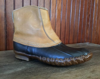 LL Bean Men's 8 N Duck Boots Brown Leather Slip On Vintage Made In USA 80s