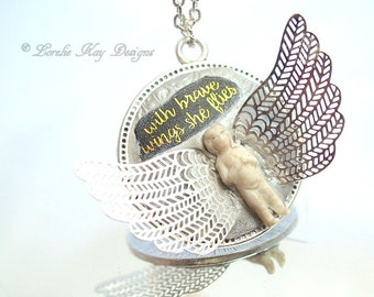 With Brave Wings Frozen Charlotte Necklace Angel Theme Doll With Wings Pendant Lorelie Kay Original