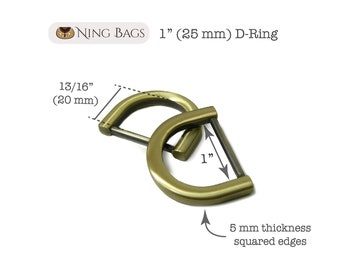 "Set of 6 // 1"" (25 mm) Squared-Edge-D-Rings for Bags, Purses, Totes / Bag Hardware in Brushed Antique Brass"