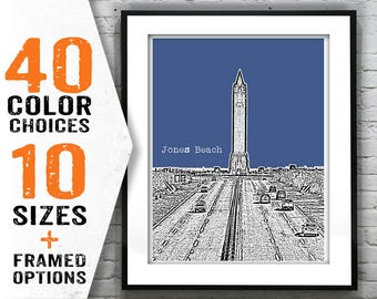 20% OFF Memorial Day Sale - Jones Beach Skyline Poster Art Print NJ New Jersey Long Island Item T1301