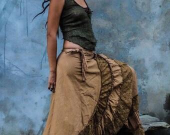 Long flamenca skirt, long skirt, burningman festival boho skirt, wrap skirt, maxi skirt