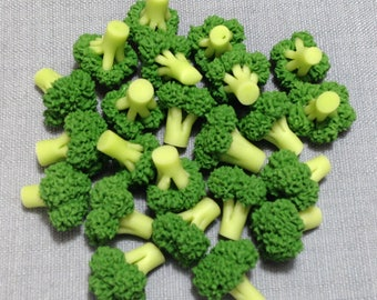 10 Miniature Broccoli Cabbage Clay Polymer Fimo Green Vegetables Veggies Cute Little Tiny Small Dollhouse Supply Food Jewelry Beads Decor