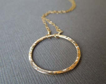 circle necklace, simple gold necklace, delicate gold necklace, hammered circle pendant, bridesmaids wedding gift, everyday necklace, N97