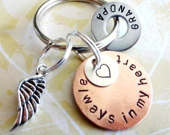 In Memory of Grandpa - Memorial Keychain - Loss of Loved One - Personalized Hand Stamped Key Chain with Angel Wing Charm