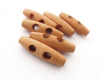 6 wooden Toggle Buttons - 4 x 1.2 cm