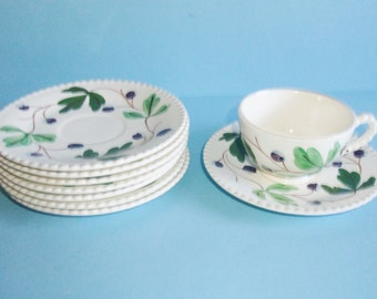 Blue Ridge Mountain Ivy Single Cup and 8 Saucers Hand Painted Southern Potteries Made In USA 1940s Vintage