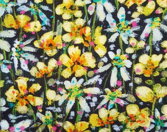Liberty Cotton Corduroy Eleanora B in Yellow on Black - Floral Pattern Needlecord / Baby Cord Fabric - Art Fabric - Dressmaking Material
