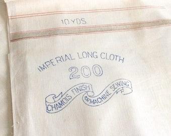 Muslin Fabric Plain Cream Cotton Longcloth 10 Yards Imperial Long Cloth 1900s Vintage Fabric