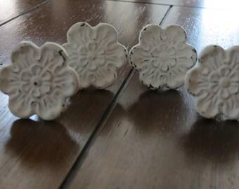 Vintage Inspired Knobs/Drawer Knobs/Dresser Knobs/Flower Design/White Knobs/White Pulls/Shabby Chic