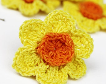 Crochet Daffodil 4pk Crochet Flowers Crochet Appliques Daffodils jewellery clothing supplies accessories motifs packs flowers