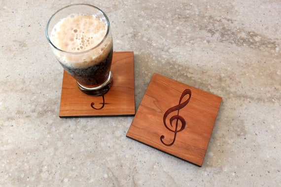 Wooden Treble Clef Coasters  Engraved on  Cherry Wood. Home Decor-Housewarming Gift-Bar Decor-Living Room-Patio-Music Gift-Teacher Gift