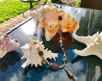 Fancy Jasper, Smokey and Rose Quartz, Freshwater Pearl & Swarovski Crystal Necklace