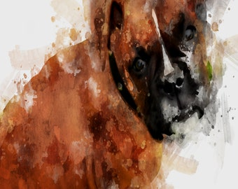 Boxer Pup Original Watercolor Print