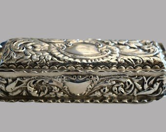 Ornate 1897 Birmingham Silver Trinket Box