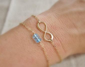 Gold infinity bracelet, birthstone bracelet, infinity symbol, figure eight, gold bracelet, bracelet set, layered bracelet, personalized