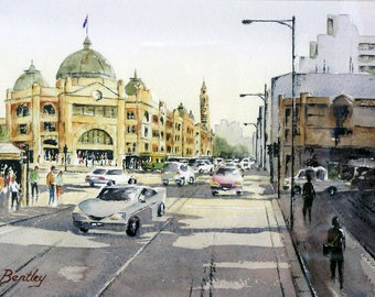 "Original watercolour painting ""Flinders Street Station, Melbourne, VIC"""