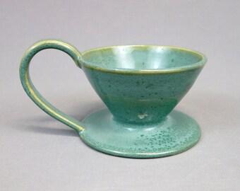 Fait à la main en céramique versez dessus versez le café pomme, turquoise bleu vert, dessus cafetière, Single tasse cafetière, café versez sur la tasse avec anse