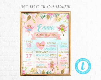 Fairy birthday milestone tem, TRY BEFORE you BUY, instant download, Birthday Sign,Milestones,Birthday Board