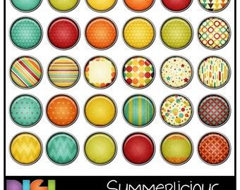 Summerlicious ~ 50% OFF 30 Digital Brads, Digital, Scrapbooking, Card making, Printable Colorful Patterned Digital Brads. Instant Download.