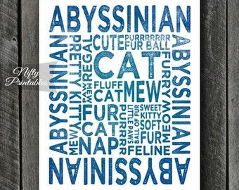 Abyssinian Print - INSTANT DOWNLOAD Abyssinian Art - Abyssinian Poster - Abyssinian Gifts - Printable Abyssinian Wall Art - Blue Cat Print