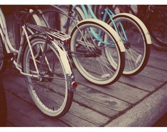 Bicycle Photograph - Bike Art - Schwinn Bicycle - Revolution - Fine Art Photograph - Blue - Red - Mackinac - Travel Art - Oversized Art