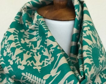 Handwoven Tusser Silk Hand  block printed tribal art green with  black  border Scarf/Stole/Wrap