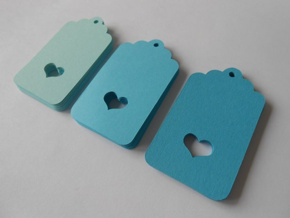 50 Scalloped Heart Tags. 3 inch. CHOOSE YOUR COLORS! Birthdays, Weddings, Favor, Gift, Place, Escort Cards.