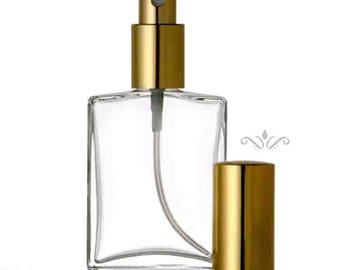 Set of 3:  1 oz. or 2 oz. Flat Atomizer Refillable Perfume GLASS SPRAY BOTTLE Empty Flat Shape