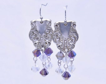 Earrings made from Vintage Silverware with Purple and Clear Beads