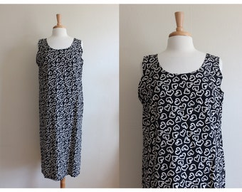 Vintage Black Heart Print Midi Dress