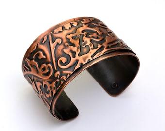 Copper Cuff Embossed Bracelet