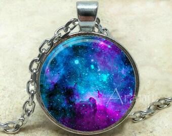 Purple nebula art pendant, galaxy necklace, nebula jewelry, galaxy pendant, galaxy jewelry, nebula necklace, space jewelry, Pendant #SP181P