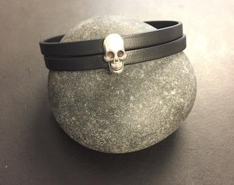 Black Leather Bracelet with Silver Skull Charm